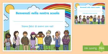 Benvenuti nella nostra scuola certificato Poster - benvenuti, nella, sotra, scuola, certificato, ritorno, italiano, italian, materiale, scolastico