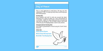 Elderly Care Calendar Planning September 2016 Day of Peace - Elderly Care, Calendar Planning, Care Homes, Activity Co-ordinators, Support, September 2016
