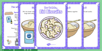 Making Eid Biscuits Recipe Cards - making, eid biscuits, recipe