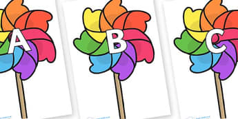 A-Z Alphabet on Beach Windmills - A-Z, A4, display, Alphabet frieze, Display letters, Letter posters, A-Z letters, Alphabet flashcards