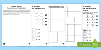 Year 2 Maths Reasoning about Multiplication Homework Activity Sheet - year 2, maths, homework, reasoning, multiplication, inverse, finding all possibilities, problem solv