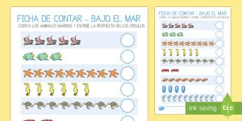 Contar animales marinos Ficha de actividad