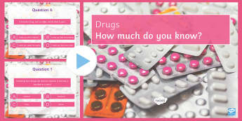 Drugs Quiz PowerPoint - PowerPoint Quiz, Drugs, Depressant, Stimulant, Alcohol, Legal, Illegal