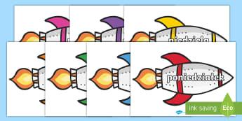 Nazwy dni tygodnia na rakietach - rakiety, kosmos, rakieta, planety, przestrzeń, kosmiczna, kosmici, księżyć, mars, wenus, dni, ty
