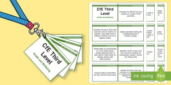 CfE Third Level Health and Wellbeing (Food and Health) Lanyard-Sized Benchmarks - CfE Benchmarks, tracking, assessing, progression, health and wellbeing, HWB, Curriculum for Excellen