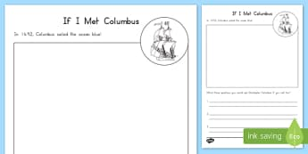If I Met Columbus Activity Sheet, worksheet