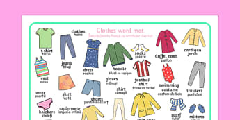 Clothes Word Mat Romanian Translation - romanian, clothes, different, word mat, mat, writing aid, words, wear, blouse, jeans, t-shirt, top, hat