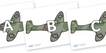 A-Z Alphabet on Planes - A-Z, A4, display, Alphabet frieze, Display letters, Letter posters, A-Z letters, Alphabet flashcards