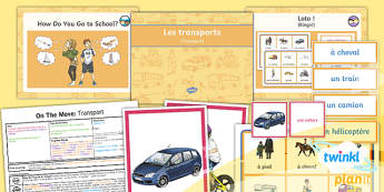 PlanIt - French Year 4 - On the Move Lesson 1: Transport Lesson Pack - french, languages, transport, vehicles, travel