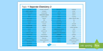 Edexcel Chemistry Topic 9 Separate Chemistry 2 Word Mat - Word Mat, chemistry, edexcel, gcse, fermentation, fractional distillation, polymerisation, polymer,