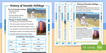KS1 History of Seaside Holidays Differentiated Fact File - holiday, difference, coast, similarities, differences