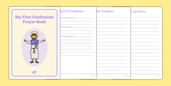 Sacrament of Penance and Reconciliation Book Template - confession, prayers, template, writing, prayer book, Sacraments