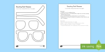 Father's Day Dazzling Dad Sunglasses Gift Craft- English/Spanish (Latin)  - Father\'s Day Dazzling Dad Sunglasses Gift Craft - gift, craft, fathers day, spanish, español, es