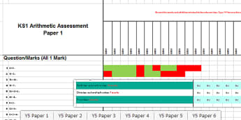 Key Stage 1 Arithmetic Full Practice Tests Assessment Spreadsheet - ks1, arithmetic, full, practise, tests, assessment, spreadsheet