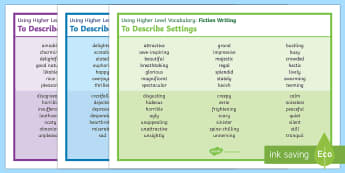 Using Higher Level Vocabulary 'Fiction Description Writing' Word Mats - vocabulary word mats, vocabulary, descriptive writing aid, thesaurus word mat