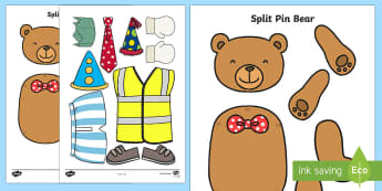 Split Pin Bear Activity - bear, teddy bear, split pins, games