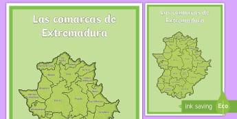 Póster DIN A2: Las comarcas de Extremadura - Mapas, provinicias, mapas mudos, mapas en blanco, las ciudades de españa, comarcas, concejos, comun