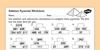 Addition Pyramids Worksheet 2 - addition pyramids, addition worksheet, ks2 addition worksheet, ks2 addition pyramids, addition with hundreds, ks2 numeracy