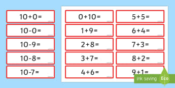 Number Bonds 10 Sentence Cards - number bonds, 10, sentence