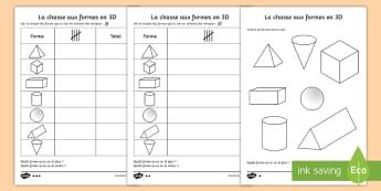 Feuille d'activités : La chasse aux formes en 3D  - La chasse aux formes en 3D Feuille d'activité, 3d, formes, chasse, feuille, activités, formes en