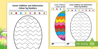 Easter Themed Addition and Subtraction Colour by Number  - CfE Early Level Easter Themed Maths Activities, addition, subtraction, colouring, adding, subtract,