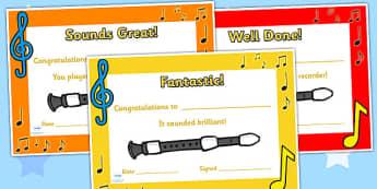 Recorder Certificates - recorder, certificates, music, music award, recorder awards, awards, rewards, class management, class awards, music certificates