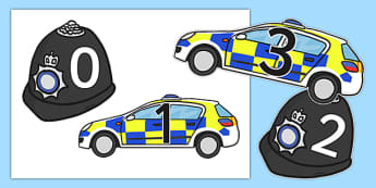 Police Themed 0-20 - police, people who help us, 0-20, images, numbers, display, maths, numeracy