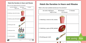 What's the Duration in Hours and Minutes Activity Sheet - Mathematics, Year 3, Measurement and Geometry, Using units of measurement, worksheet, ACMMG062, time