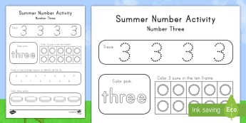 Summer Number Three Activity Sheet - Summer, summer season, first day of summer, summer vacation, summertime, number recognition, number