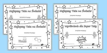 Certyfikaty do kolorowania na Dzień Ojca po polsku