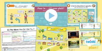 PlanIt - French Year 4 - On the Move Lesson 5: How Do I Get To... Lesson Pack - french, languages, direction, map, tourism
