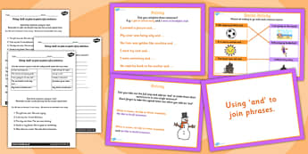 Joining Clauses Using and Lesson Teaching Pack - literacy, pack