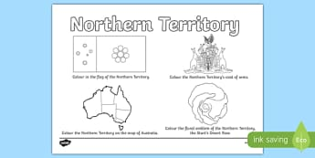 Northern Territory Colouring Sheet - australia, colouring, flag, coat of arms, floral emblem, map, Australia, Art, Geography, states, territories