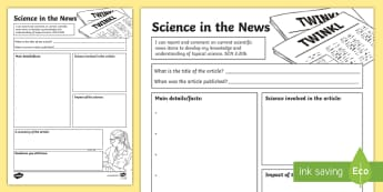 Science in the News Activity Sheet - CfE Science, science week, Edinburgh Science Festival, Glasgow Science Festival, worksheet, Scottish