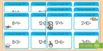 Tarjetas educativas: Sumas hasta 20 - Bajo el mar - sumar, sumas, adición, mates, matemáticas, hasta 20, bajo el mar, mar, animales, marino, ,Spanish