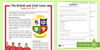 The British and Irish Lions Tour 2017 KS2 Differentiated Reading Comprehension Activity - KS2 Lions Tour Rugby, rugby, lions, new zealand, sam warburton, rugby union, six nations, rugby worl