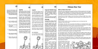 Chinese New Year Comprehension Sheet English/Polish - Chinese New Year Differentiated Reading Comprehension Activity - chinese new year, sheet, comprehesi