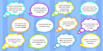 Year 5 Maths Assessment Targets on Speech Bubbles - maths, target