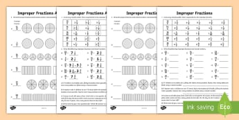 Improper Fractions Activity Sheet - Math, Improper Fractions, Mixed Numbers, Fraction Conversions, worksheet, Fractions, Fraction Word P