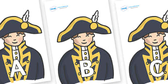 A-Z Alphabet on Admirals - A-Z, A4, display, Alphabet frieze, Display letters, Letter posters, A-Z letters, Alphabet flashcards