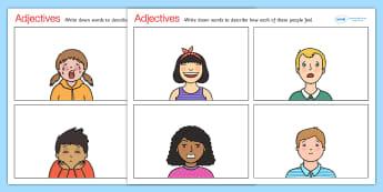 Feelings Adjectives Worksheets - adjectives, adjectives worksheets, feelings adjectives, how do they feel, recognising emotions worksheet, ks2