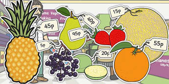 Priced Pieces of Fruit Multiples of 5p - fruit, priced, multiples