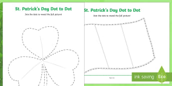 St Patrick's Day Dot to Dot Activity Sheet - KS1& 2 St Patrick's Day UK March 17th 2017, dot to dot, fine motor skills, counting