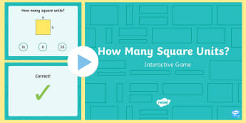 How Many Square Units PowerPoint Game - counting units, tiling, measurement, area, common core