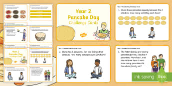 Year 2 Pancake Day Maths Challenge Cards - Year 2, year two, yr 2, maths skills, maths challenge cards, Pancake Day, Shrove Tuesday, addition,
