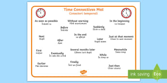 Time Conjunctions Word Mat English/Romanian - Time Conjunctions Word Mat - time connectives, mat, time, connectives, conectives, timeconnectives,