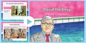 David Hockney Information PowerPoint - KS2 Artists,  pop art, photography, computer, British artist,