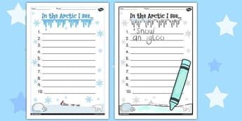 The Arctic 10 Things I See Writing Frame - writing frame, arctic