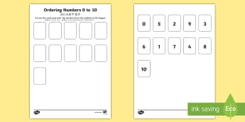 Ordering Number 0 to 10 Activity English/Mandarin Chinese - ordering numbers, 1 -10, 0-10, less than 10, practise, number, number sequence, maths, counting,EAL