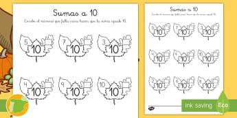 Ficha de actividad: Sumas a 10 - Otoño - estaciones, sumar, adición, enlaces numéricos, números, cifras, ,Spanish